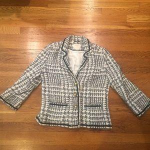 KATE SPADE Tweed Blazer Jacket in Sz 12 Blue White